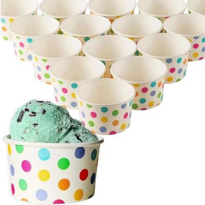Blue Panda Juvale 50-Pack 8 Oz Disposable Paper Ice Cream Cups, Yogurt Dessert Bowls Party Treat Cups, BPA Free/Food Grade, Rainbow Polka Dots/White