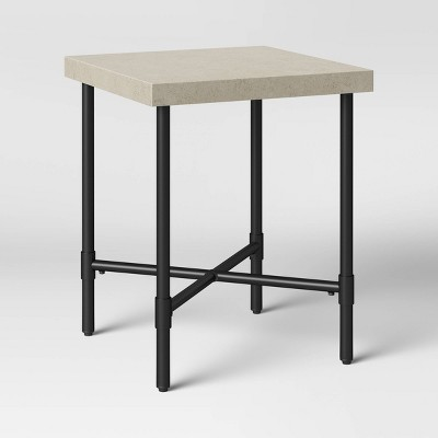 Faux Stone & Metal Patio Accent Table - Threshold™
