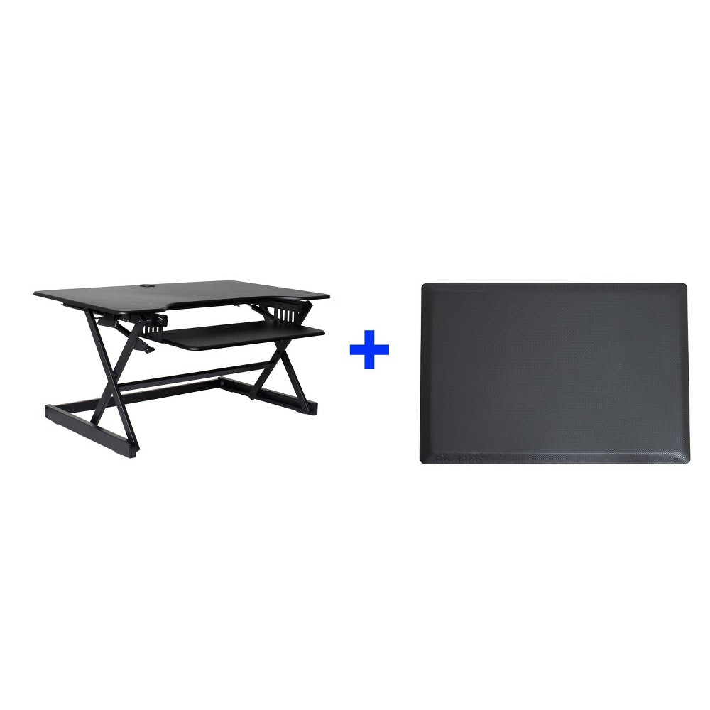 "Image of ""40"""" Adjustable Desk Riser with Medium Energizing Mat Black - Rocelco"""