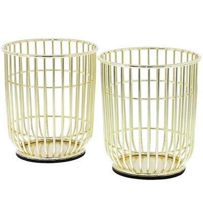 Paper Junkie 2-Pack Gold Wire Desktop Makeup Brush Pencil Pen Holders Cup Desk Organizer, 3.5 x 4 in