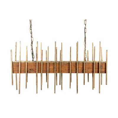 """35.5"""" Wood Pendant Ceiling Light with Metal Rods - 3R Studios"""