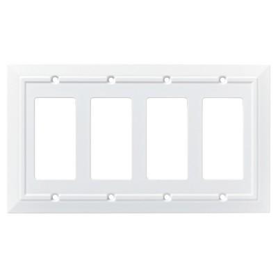 Franklin Brass Classic Architecture Quad Decorator Wall Plate White