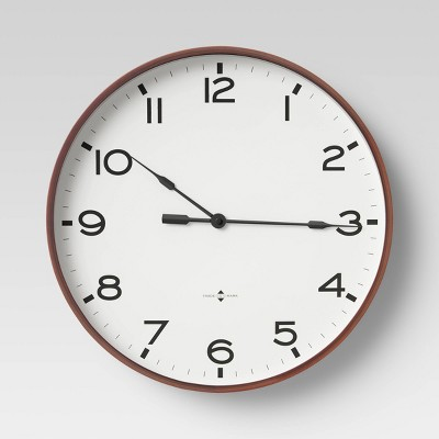 "16"" Thin Frame Wall Clock Red/Brown - Threshold™"