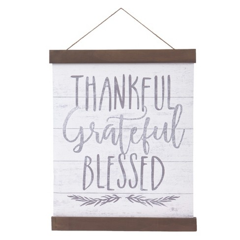 "16""x20"" Thankful Grateful Blessed Hanging Print with Wood Detail Wall Canvas White - Patton Wall Decor - image 1 of 4"