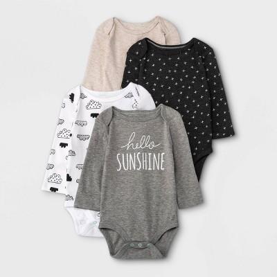 Baby 4pk Long Sleeve Bodysuit - Cloud Island™ Black/White Newborn