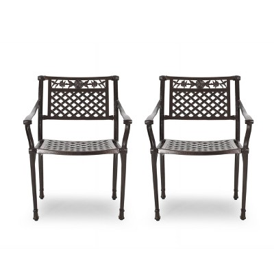 Ridgecrest 2pk Aluminum Traditional Dining Chairs - Hammered Bronze - Christopher Knight Home