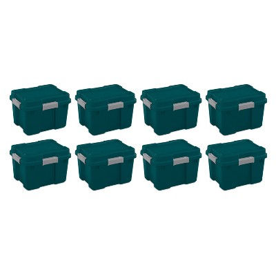 Sterilite 20 Gallon Heavy Duty Plastic Gasket Tote Stackable Storage Container Box with Lid & Latches for Home Organization, Teal Rain/Gray (8 Pack)