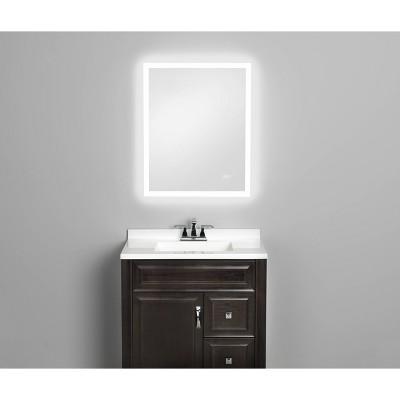 """24""""x30"""" LED Mirror with Anti Fog Demist Pad/Bluetooth Speakers and Microphone - Home NetWerks"""