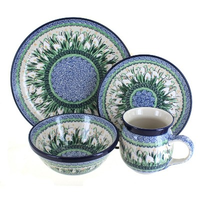 Blue Rose Polish Pottery Snowdrop 16PC Dinnerware Set