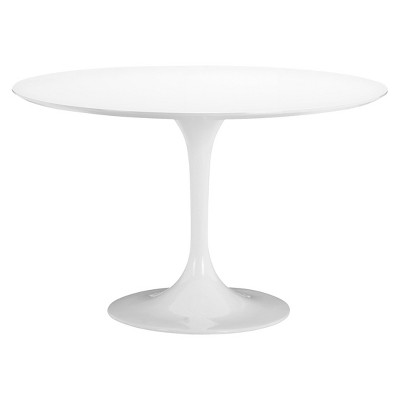 Mid-Century 47  Round Bevel Edge and Tulip Base Dining Table - White - ZM Home