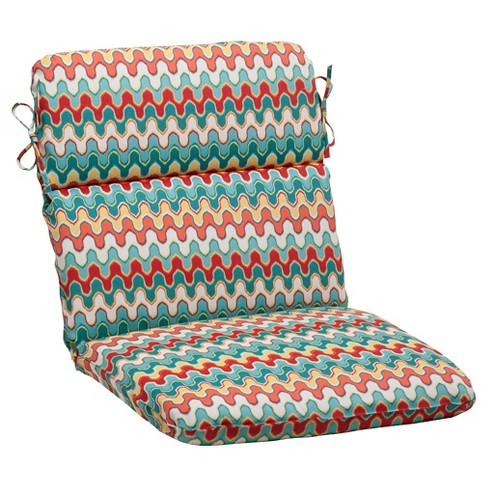 Outdoor Rounded Chair Cushion Red Turquoise Chevron Target