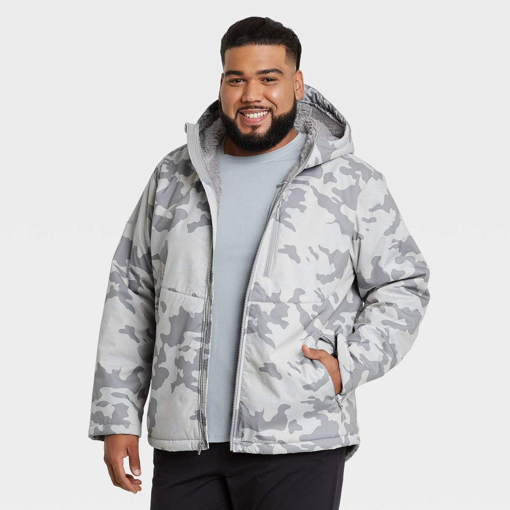 Men 39 S Camo Print Softshell Sherpa Jacket All In Motion 8482 White Xxl