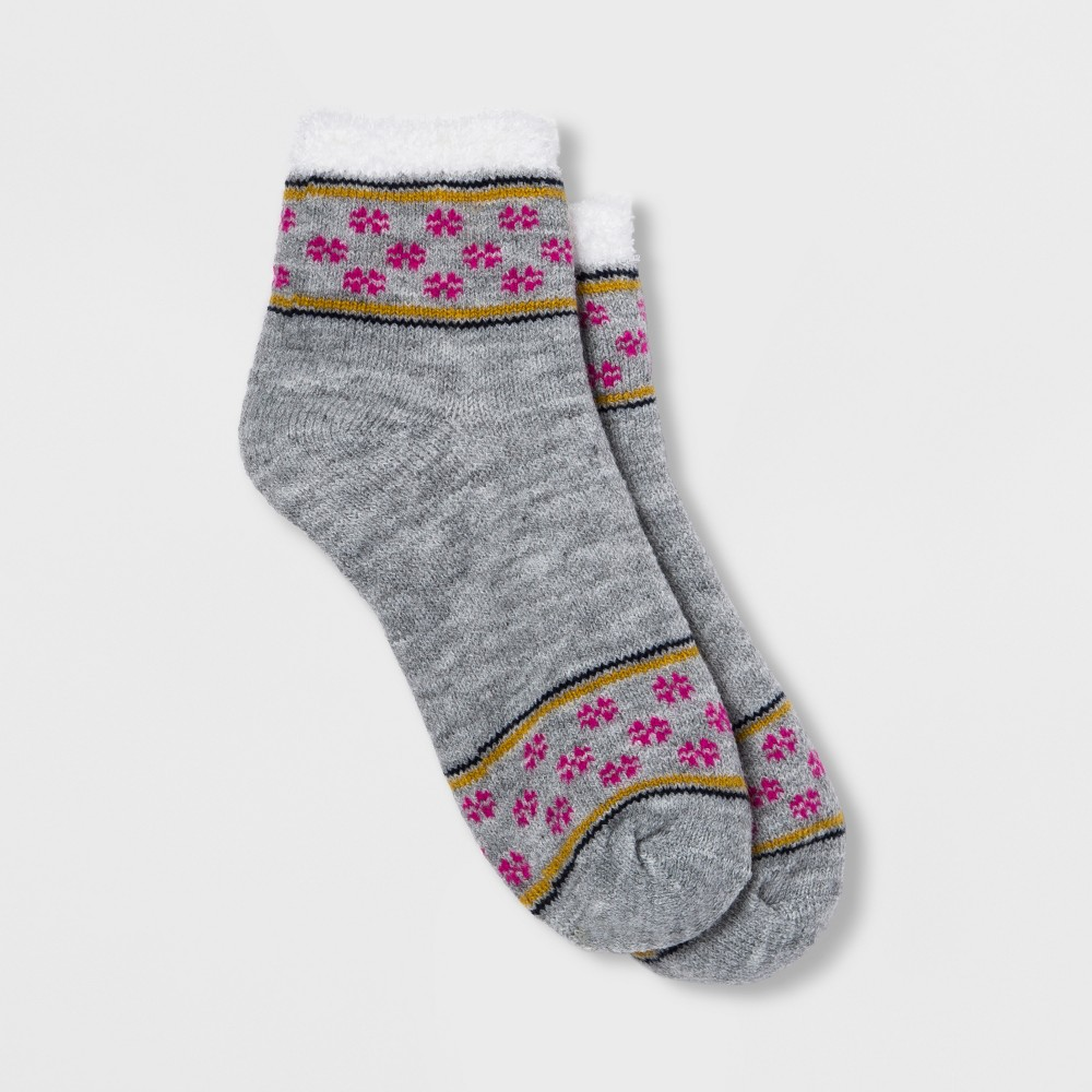 Women's Fair Isle Double Lined Cozy Ankle Socks Gray One Size, Heather Grey