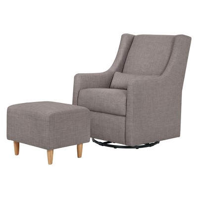 Babyletto Toco Swivel Glider and Ottoman - Gray Tweed