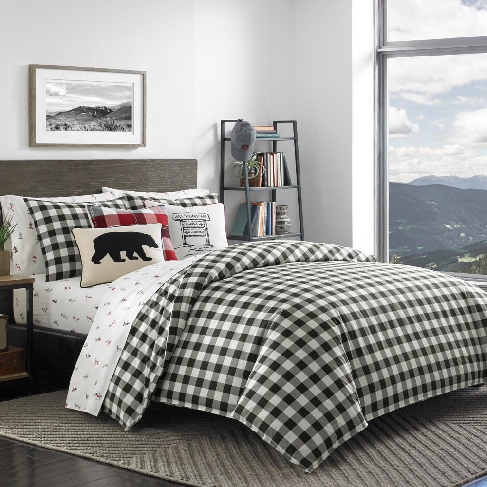 Image of Black Mountain Plaid Duvet Cover Set (Full/Queen) - Eddie Bauer, Gray Black