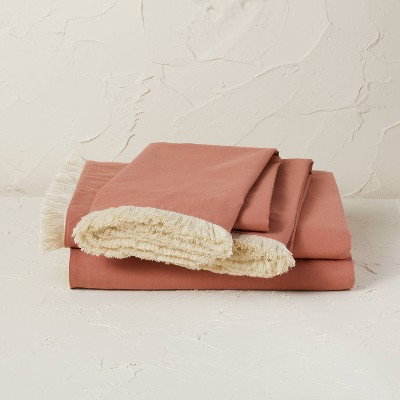 Queen Fringe Cotton Percale Sheet Set Coral - Opalhouse™ designed with Jungalow™
