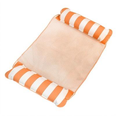 AquaLeisure 4-in-1 Monterey Hammock Swimming Pool Float, Orange/White Stripe