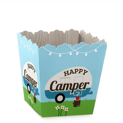 Big Dot of Happiness Happy Camper - Party Mini Favor Boxes - Camping Baby Shower or Birthday Party Treat Candy Boxes - Set of 12