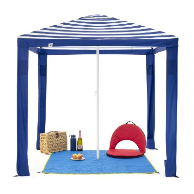 SlumberTrek 3049363VMI Maui 2-In-1 Outdoor Beach Cabana Gazebo Umbrella Shelter with Carrying Case, Blue