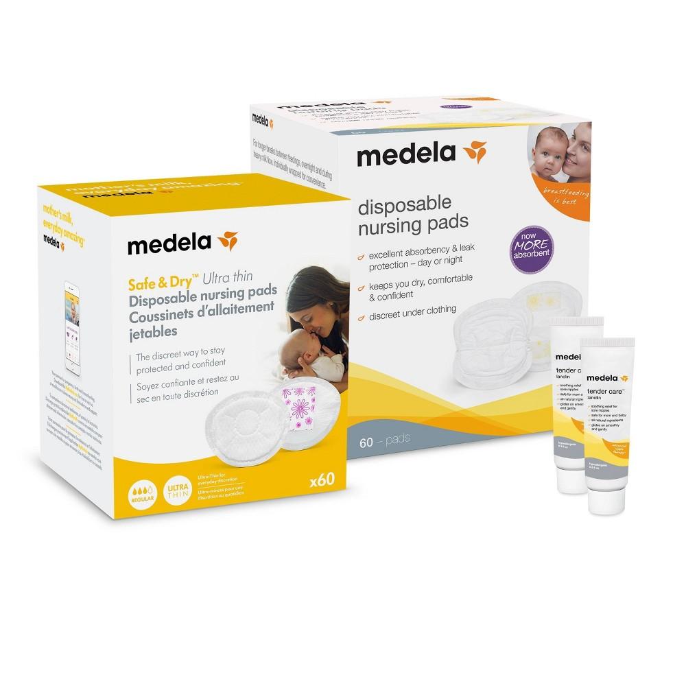 Image of Medela Disposable Nursing Pads & Tender Care Lanolin Set, White