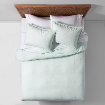 Mint Garment Washed Embroidered Duvet Cover Set (King)- Opalhouse™