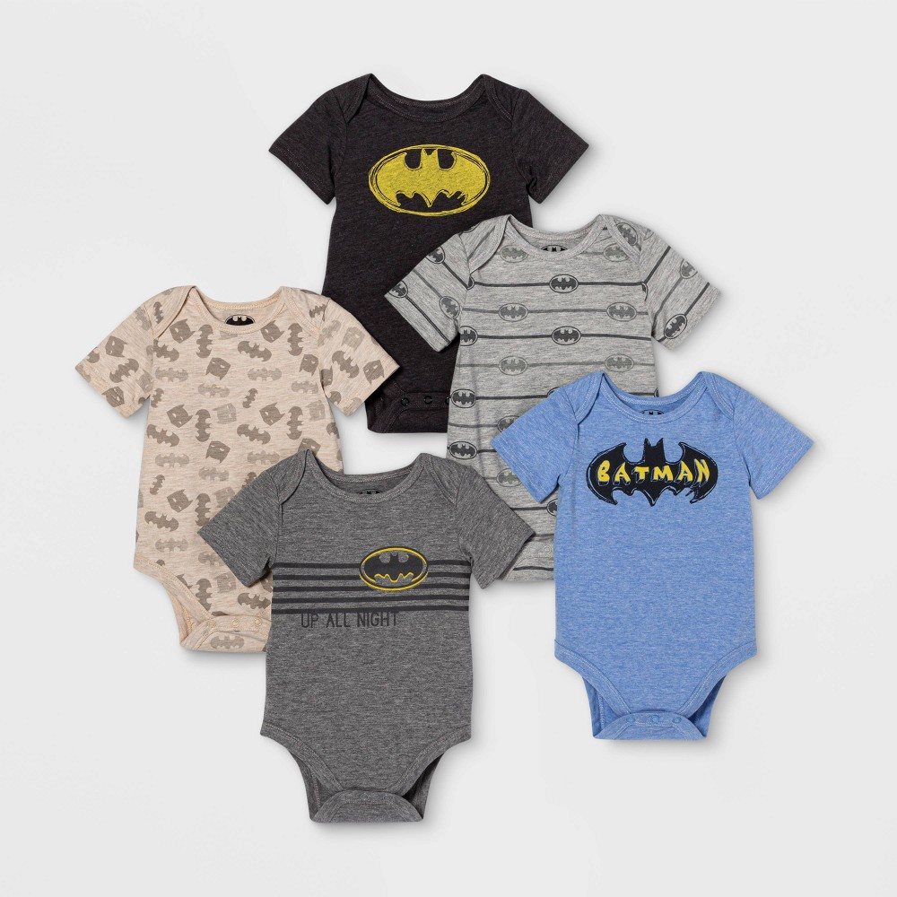 Image of Baby Boys' 5pk Batman Bodysuits - 12M, Boy's