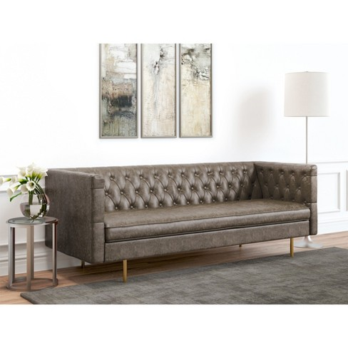 Awe Inspiring Barnaby Tufted Faux Leather Sofa Vintage Gray Af Lifestyle Cjindustries Chair Design For Home Cjindustriesco