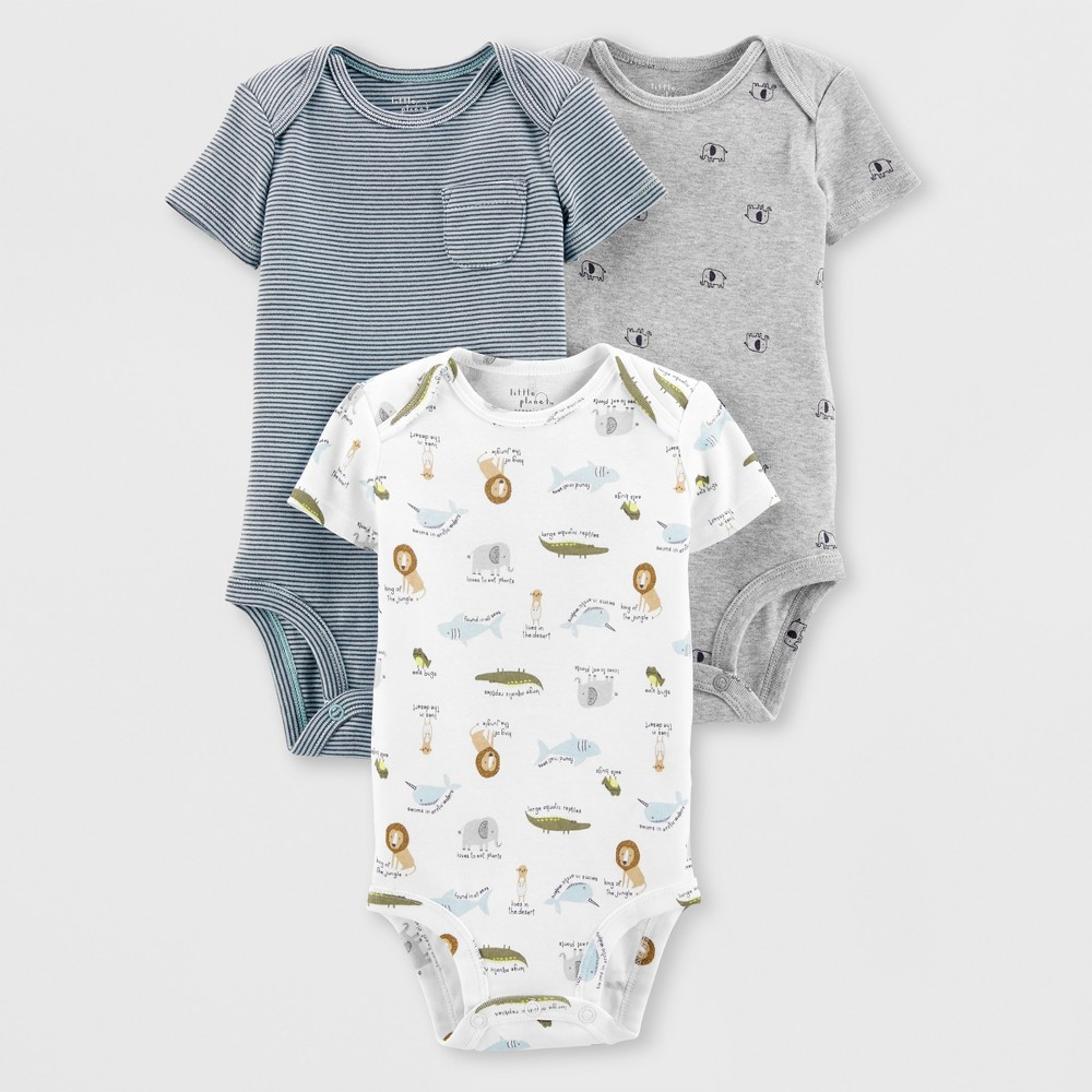 Image of Little Planet Organic by carter's Baby Boys' 3pk Animals Bodysuits - White/Gray 24M, Boy's, Size: Small