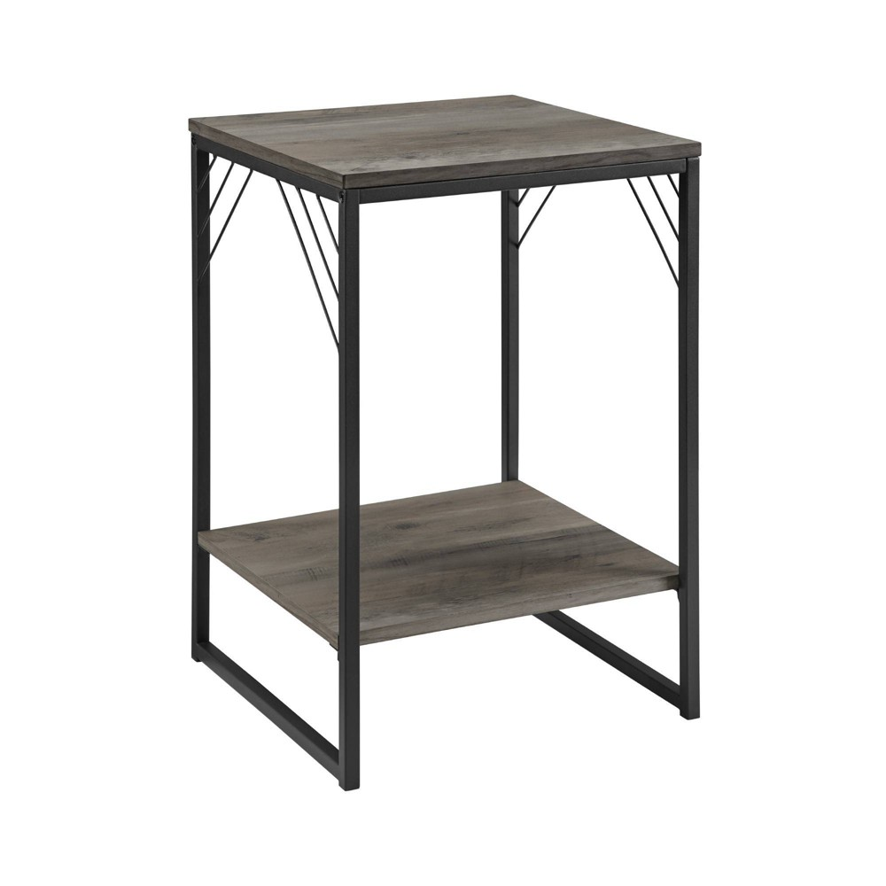 """Image of """"16"""""""" Industrial Metal Accent Side Table Gray Wash - Saracina Home"""""""