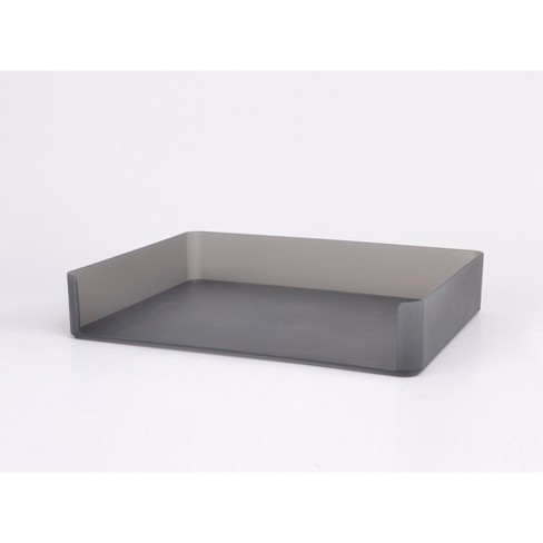 plastic stacking letter tray with opening on wide side dark gray made by design