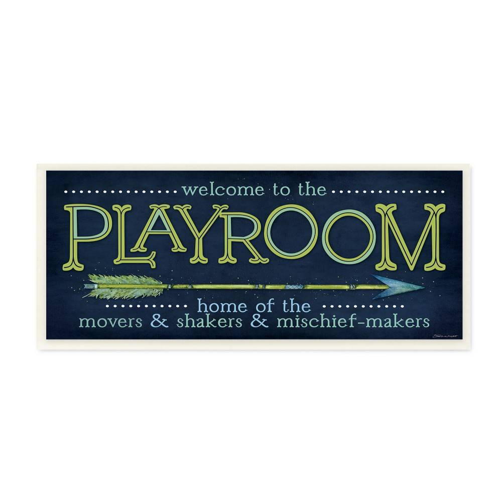 7 X0 5 X17 Playroom Home Of Mischief Makers Blue Wall Plaque Art Stupell Industries