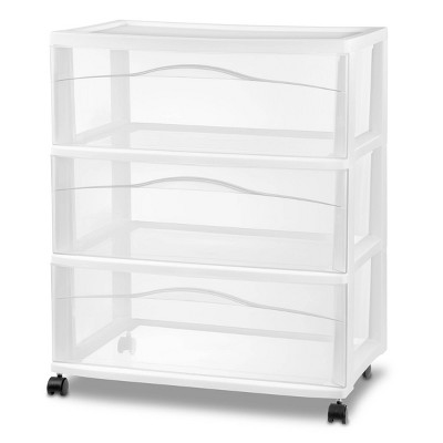3 Drawer Wide Cart White - Room Essentials™