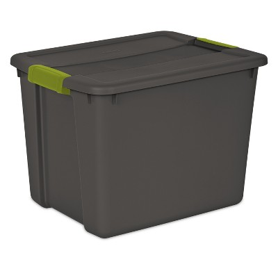 Sterilite 12gal Latch Tote Gray with Green Latches