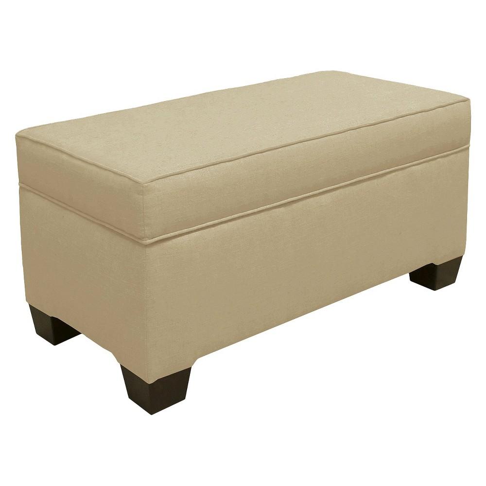 Skyline Custom Upholstered Box Seam Bench - Skyline Furniture, Linen Sandstone