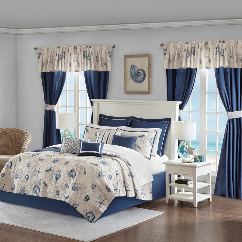 Blue Montauk Coverlet In a Bag (Queen) 24 pc