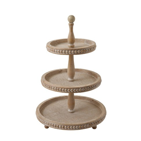 """24.7"""" x 16.2"""" Decorative Wood 3-Tier Tray Natural - 3R Studios - image 1 of 2"""