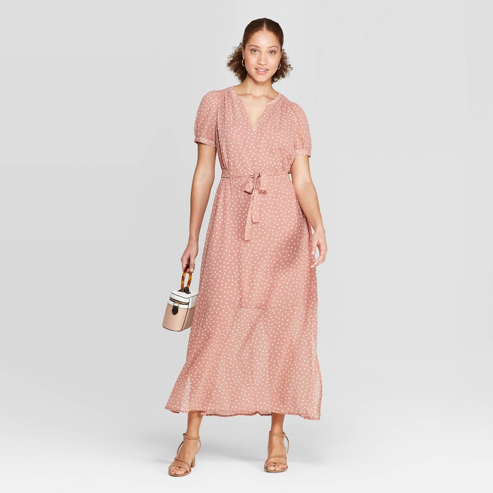 Women's Polka Dot Casual Fit Cap Sleeve Deep V-Neck Chiffon Maxi Dress - A New Day Dark Pink XS