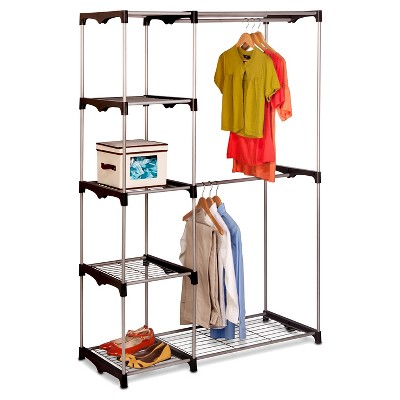 Honey Can Do Freestanding Wardrobe Closet   Silver/Black