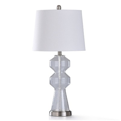 StyleCraft L330087 Nova Traditional Lamp w/ White Drum Lampshade, Clear Glass Body, and Brushed Steel Base for Table or Desk Bedroom Room Light Decor