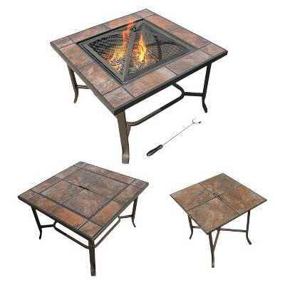 Leisurelife™ 3 in 1 30  Square Ceramic Tile, Coffee Table, Woodburning Fire Pit and Side Table