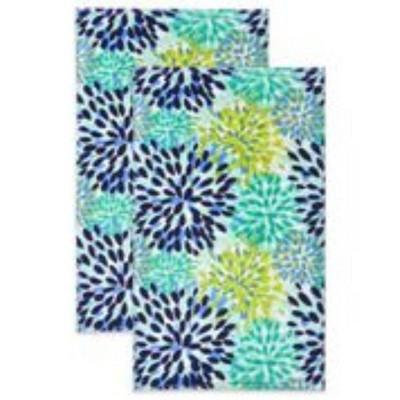 2pk Cotton Calypso Kitchen Towels Blue/Green - Fiesta