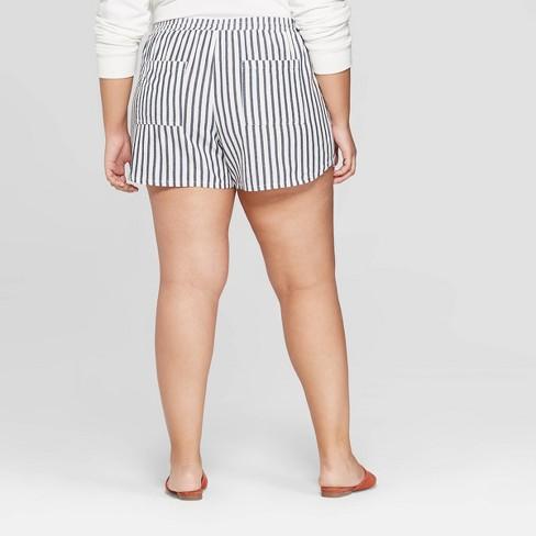 8e10d9a447f4e Women s Plus Size Striped Mid-Rise Pull On Shorts - Universal Thread™ Blue  White