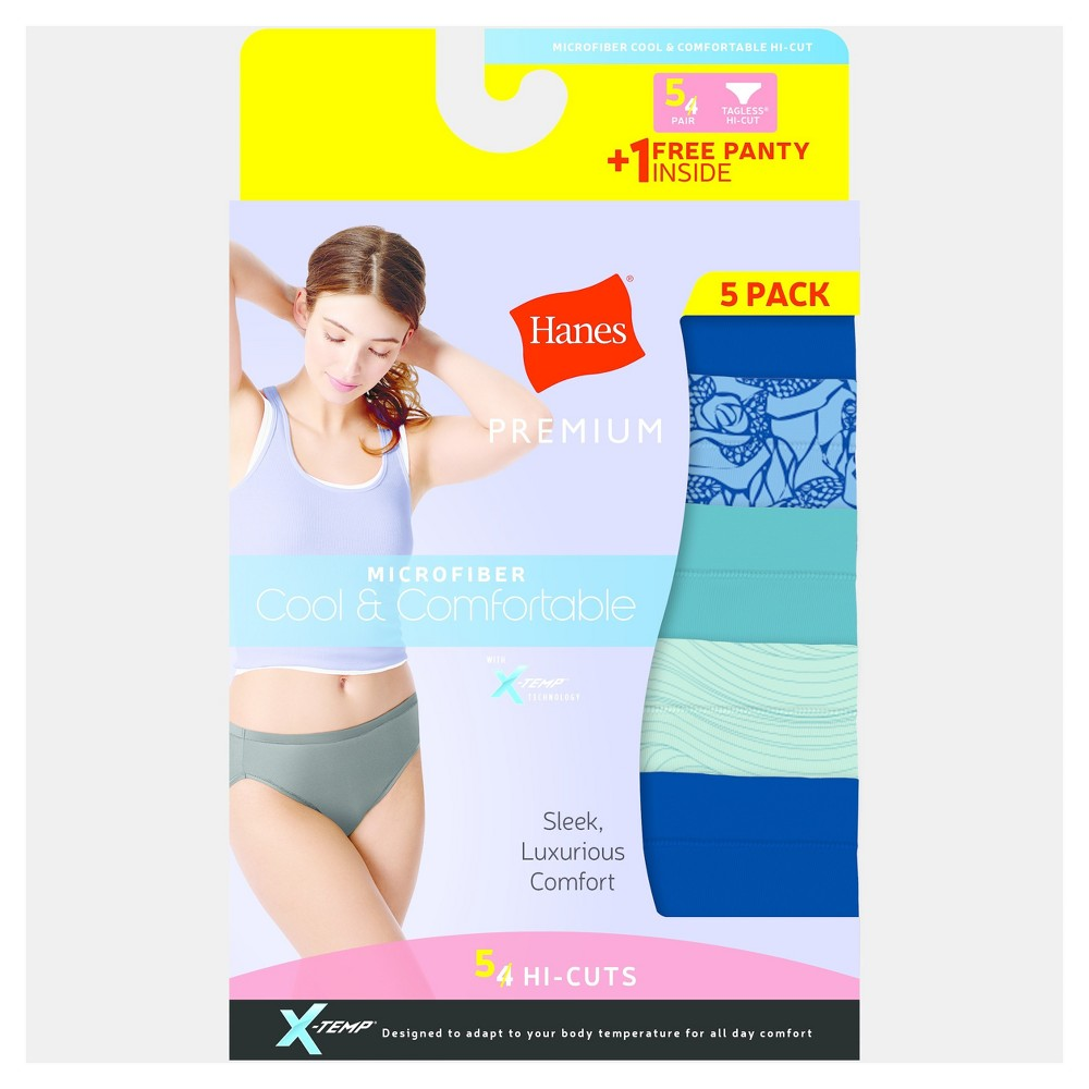 Hanes Premium Women's Cool & Comfortable Microfiber High Cut Briefs With X-Temp 4 + 1 Bonus pack (Colors May Vary) - Size Xxl, Multi-Colored