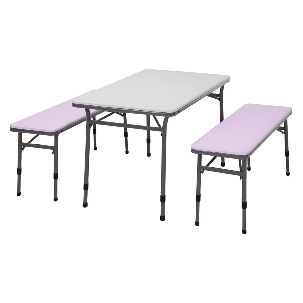 3pc Kid's Adjustable Height Table And Chair Set Pink/Black - Cosco