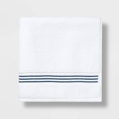 Spa Bath Towel Dark Blue Stripe - Threshold Signature™
