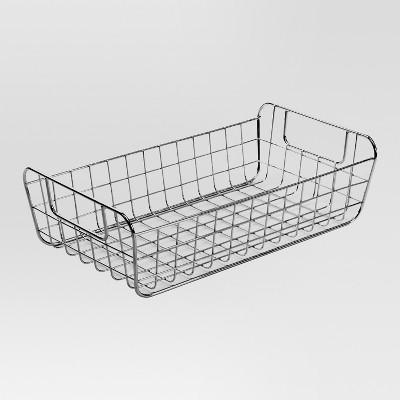 Sink Caddy Pantry storage wire basket tapered - Chrome - 8'' X 14'' X 4''H - Threshold™