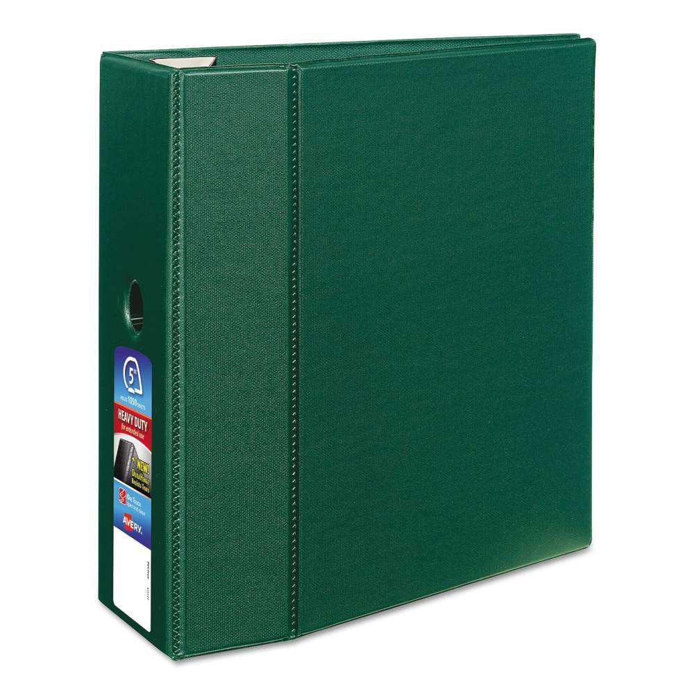 """Image of """"Avery Heavy-Duty Ring Binder with One Touch EZD Rings, 11 x 8 1/2, 5"""""""" Capacity, Green"""""""