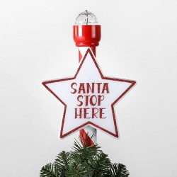 Lit Santa Stop Here Christmas Tree Topper Red - Wondershop™