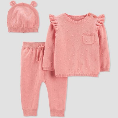 Baby Girls' 3pc Sweater Top & Bottom Set - Just One You® made by carter's Pink 3M