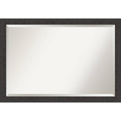 """39"""" x 27"""" Rustic Plank Espresso Framed Bathroom Vanity Wall Mirror - Amanti Art"""